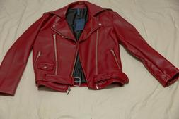 56eb9807 zara mens red leather jacket size medium new with tags