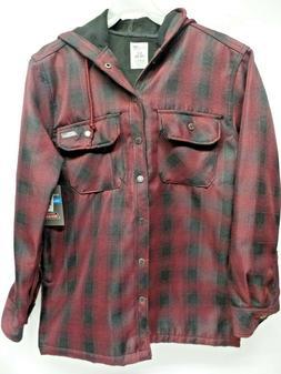 Dickies Mens Red Plaid Snap Closures Hooded Overshirt Jacket