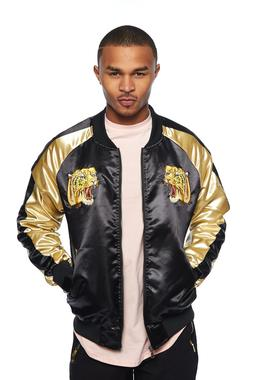 Mens Shiny Color Block Animal Embroidered Bomber Jacket UBJ