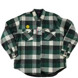 Dakota Mens Shirt Jacket Green Black Check Insulated Flap Po