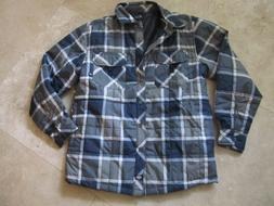 Mens size M Dickies gray plaid quilted polyester jacket, NWO