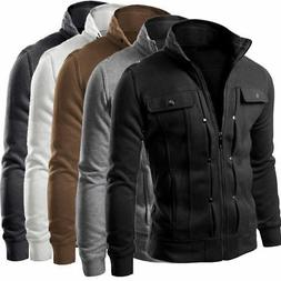 mens slim fit stand collar coat top