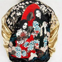 mens souvenir jacket japanese pattern embroidery sukajan