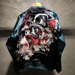 Mens Souvenir Jacket Sukajan Japanese Pattern Embroidered RE
