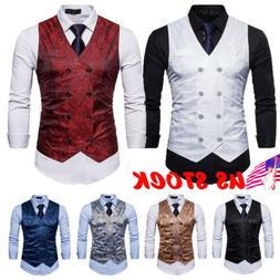 Mens Suit Solid Color Vest Formal Casual Coat Double-Breaste