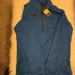 Nike Mens Track Jacket Blue Black Quarter Zip Dri Fit S New