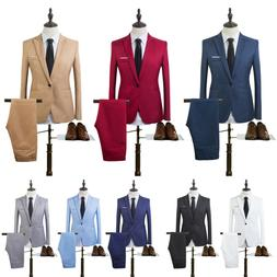 Mens Tuxedos Jacket + Pants Slim Fit Business Formal Wedding