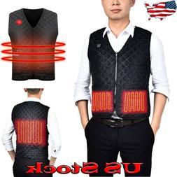Mens USB Electric Heated Vest Winter Snow Ski Thermal Jacket