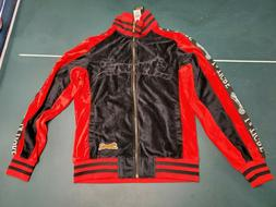 MENS LE TIGRE VELOUR BARRON TRACK JACKET BLACK/RED MSRP $79