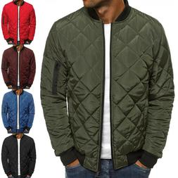 Mens Winter Bomber Baseball Jacket Puffer Down Coat Quilted