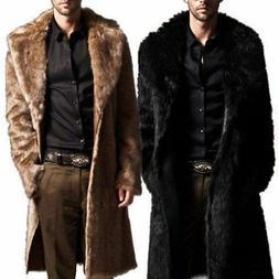 Mens Winter Faux Fur Warm Coat Parka Male Fashion Jacket Ove