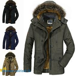Mens Winter Fur Collar Coat Parka Jacket Hooded Fleece Linin