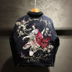 Mens Winter Jacket Bomber Japanese Pattern Embroidery Sukaja