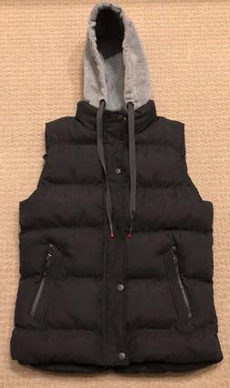Men's Winter Puffer Hoodie Vest - Black with Gray Hoodie -