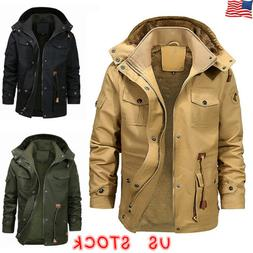 Mens Winter Thick Fur Lined Hooded Jacket Zipper Warm Casual