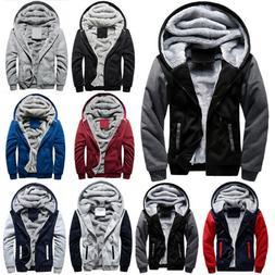 Mens Winter Thick Warm Fleece Fur Lined Hoodie Zip Up Coat J