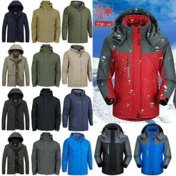 Mens Winter Warm Ski Hooded Jacket Snow Hiking Windproof Coa
