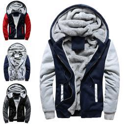 Mens Casual Winter Warm Thick Fleece Hooded Hoodie Coat Zip