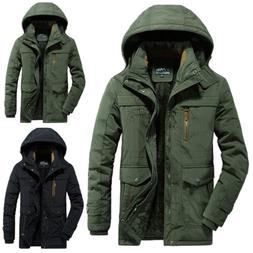 Mens Winter Warm Thick Fur Lined Hooded Jacket Zipper Bomber