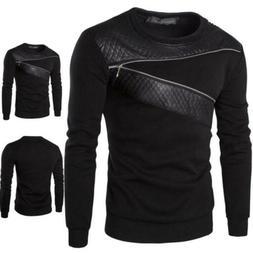 Mens Winter Zip Leather Sweatshirt Coat Jacket Outwear Sweat