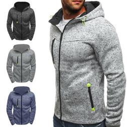 Mens Zip Up Hoodie Hoody Fleece Jacket Sweatshirt Winter Cas