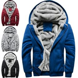 Mens Zip Up Hoodie Hoody Jacket Winter Thick Fleece Hooded C