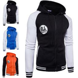 Mens Zipper Jacket Hooded Sweatshirt Coat Slim Anime Dragon