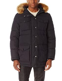 Tommy Hilfiger Men's Micro Twill Full Length Hooded Parka, B