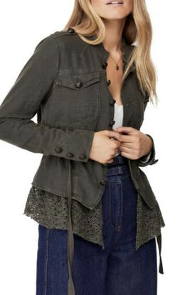 Free People Military Style Jacket Emilia Linen Olive Green w