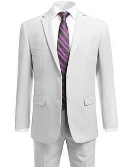 IDARBI Men's Modern Fit 2-Piece Suit Set WHITE 44R
