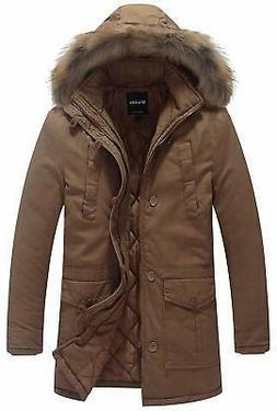 Wantdo NEW Brown Khaki Mens Size 2XL Faux Fur Hooded Parka J
