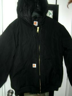 NEW CARHARTT J140 BLK Quilted Flannel Lined HOODED Duck Canv
