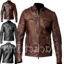 New Men's Genuine Lambskin Leather Jacket BLACK & BROWN Slim
