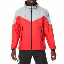 New Nike Men's Packable Windrunner Full Zip Jacket Grey/Red/