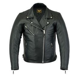 New Mens Black Genuine Cowhide Leather Motorcycle Jacket Coa