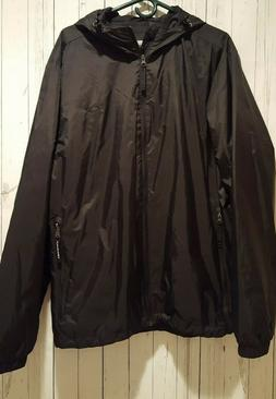 NEW Mens CG Champion Black Hooded Zip Front Rain Windbreaker