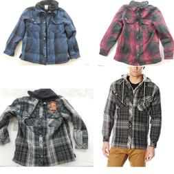 New Dickies Mens Hooded Button Yarn Dyed Plaid Lined Overshi