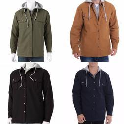 New Dickies Mens Hooded Cotton Canvas Work Shirt Fleece Line