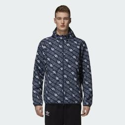 NEW ADIDAS MEN'S MONOGRAM WINDBREAKER TRACK JACKET HOODY F