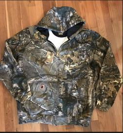 NEW Mens sz XL TALL Carhartt Realtree Camo Hooded Zip Up Jac
