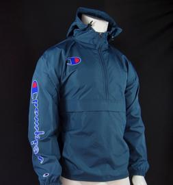 NEW CHAMPION PACKABLE HALF-ZIP JUNIPER BLUE MENS WINDBREAKER