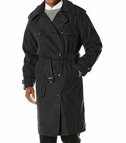 London Fog NEW Solid Black Mens Size 44L Long Iconic Trench