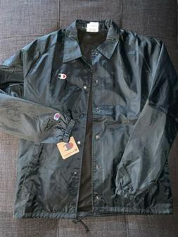 NEW Champion USA Heritage Black Coach Jacket Button Up Men's