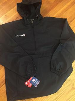 CHAMPION New W/TAG Mens Jacket Hooded Anorak Pull Over BLACK