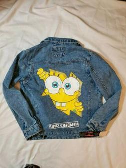 Members Only Nickelodeon SpongeBob Denim Jean Jacket Mens Si