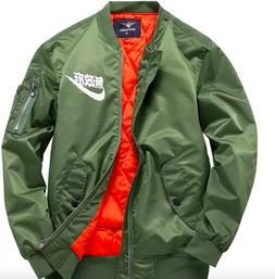 Nike Japanese Mens Bomber Jacket Winter Flight Military Air