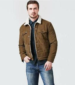 NWT Levi's Mens Type III Sherpa Trucker Jacket Brown Corduro