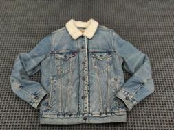 NWT Mens Levi's Acid Wash Sherpa denim Trucker Jacket size s