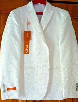 NWT Tallia Urban Party Jacket Ivory Brocade Mens 40S Hallowe