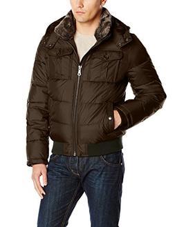 Tommy Hilfiger Men's Nylon Hooded Puffer Bomber Jacket, Gree
